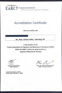 Avrupa Bilişsel Davranışçı Terapiler Derneği Onaylı Psikoterapist Sertifikası