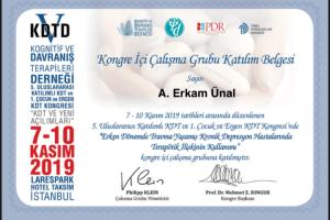 5. Uluslararası Katılımlı KDT ve 1. Çocuk ve Ergen KDT Kongresi Sertifika (1)