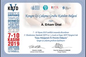 5. Uluslararası Katılımlı KDT ve 1. Çocuk ve Ergen KDT Kongresi Sertifika (2)